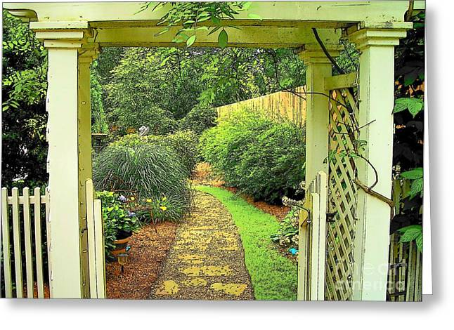 Trellis Greeting Cards - Landscape - Path - Trellis Path Greeting Card by Donna E Pickelsimer