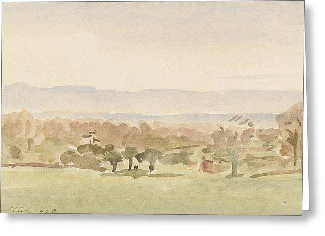 Landscape Drawings Greeting Cards - Landscape, Possibly Framlingham, Suffolk Greeting Card by Philip Wilson Steer