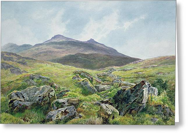 Moorlands Greeting Cards - Landscape Snowdon Greeting Card by Frederick William Hayes