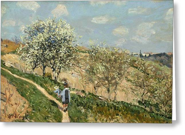 Bougival Greeting Cards - Landscape. Spring at Bougival Greeting Card by Alfred Sisley