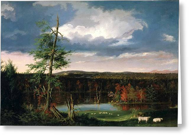 In The Distance Greeting Cards - Landscape the Seat of Mr. Featherstonhaugh in the Distance Greeting Card by Thomas Cole