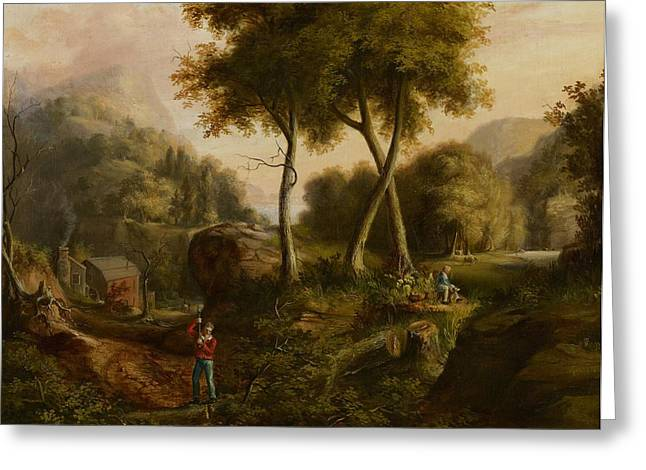 Ravine Greeting Cards - Landscape Greeting Card by Thomas Cole