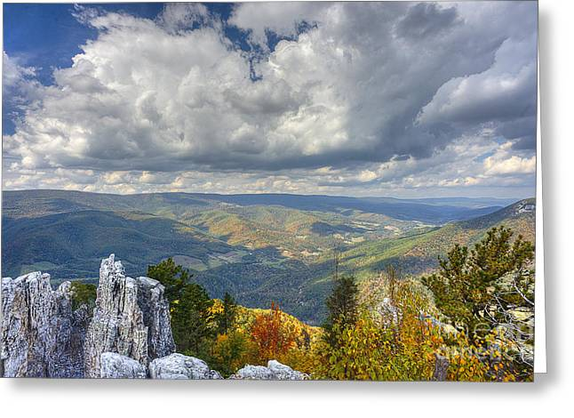 North Fork Greeting Cards - Landscape view from Chimney rock on North Fork Mountain Greeting Card by Dan Friend