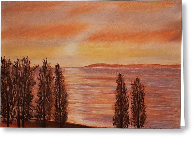 Beach Sunsets Pastels Greeting Cards - Landscape Winter Sunset 1 Greeting Card by Dimitra Papageorgiou