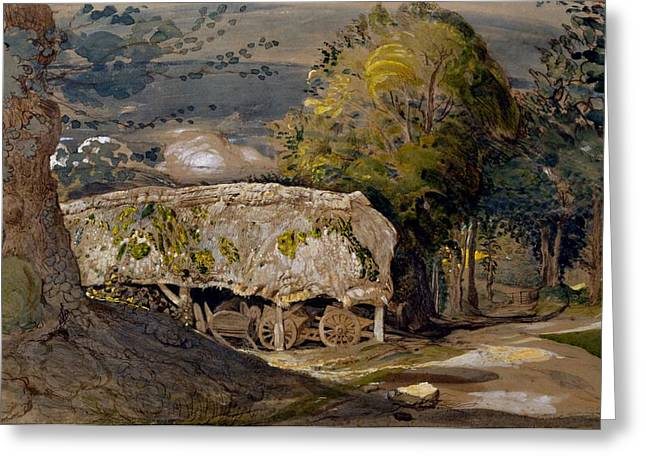 Landscape Drawings Greeting Cards - Landscape With A Barn, Shoreham, Kent Greeting Card by Samuel Palmer