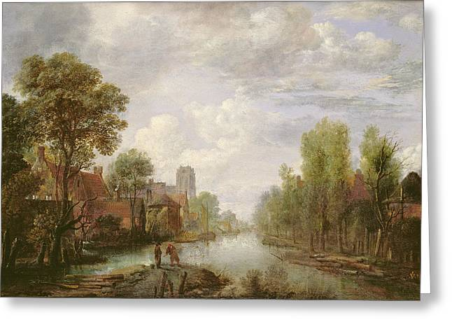 River Paintings Greeting Cards - Landscape With A Canal Greeting Card by Aert van der Neer