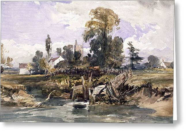 Landscape Drawings Greeting Cards - Landscape With A Church And A House Greeting Card by William James Muller