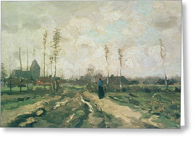 Rural Landscapes Greeting Cards - Landscape with a Church and Houses Greeting Card by Vincent van Gogh