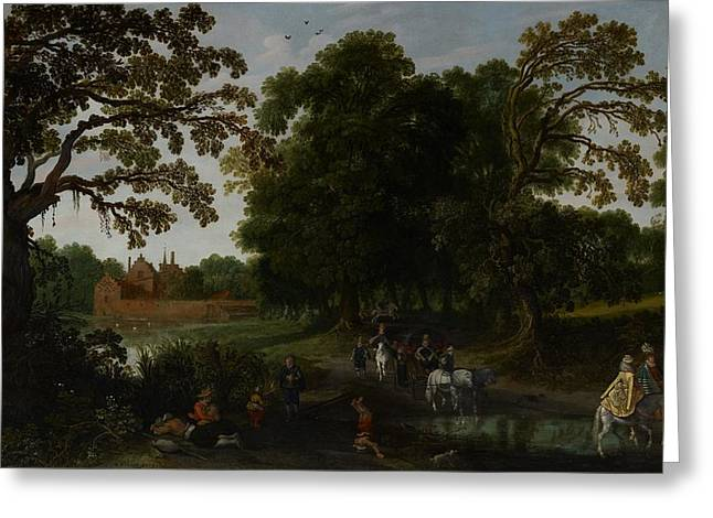 Nassau Greeting Cards - Landscape with a courtly procession before Abtspoel Castle Greeting Card by Esaias I van de Velde