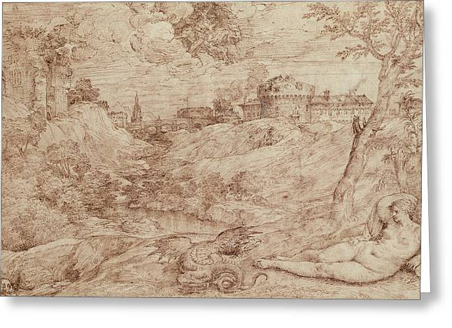 Skull Drawings Greeting Cards - Landscape with a Dragon and a Nude Woman Sleeping Greeting Card by Titian