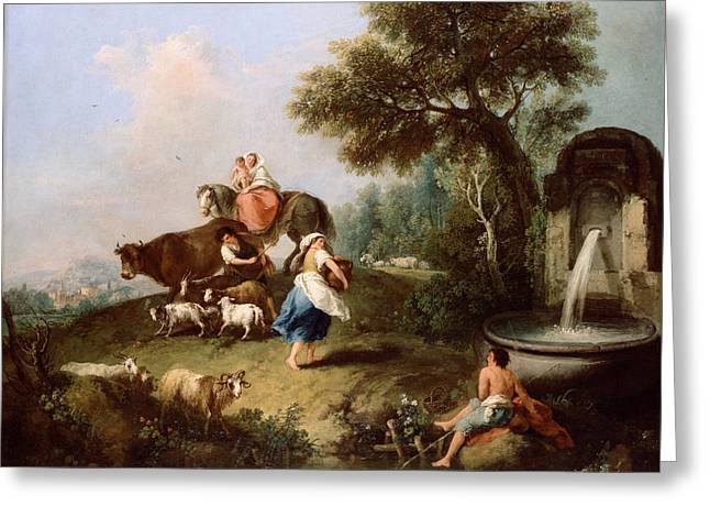 Fountain Figure Greeting Cards - Landscape with a Fountain Figures and Animals Greeting Card by Francesco Zuccarelli
