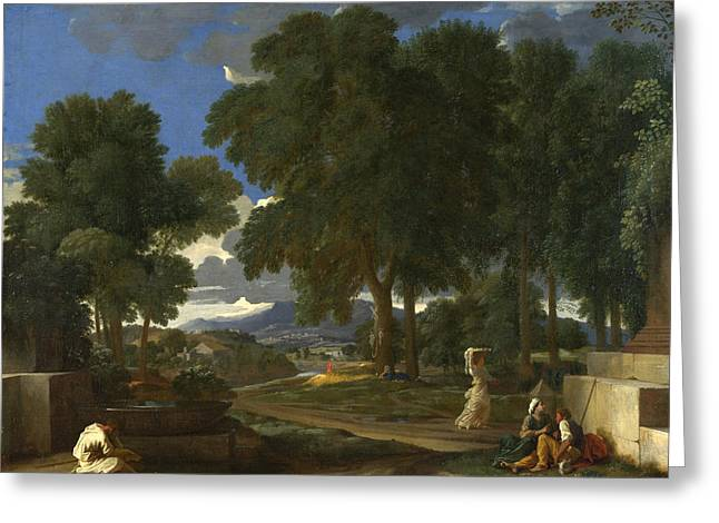 Poussin Greeting Cards - Landscape with a Man washing his Feet at a Fountain Greeting Card by Nicolas Poussin