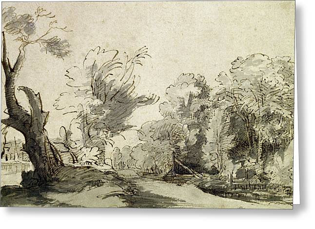 Landscape With A Path, An Almost Dead Tree On The Left And A Footbridge Leading To A Farm Greeting Card by Rembrandt Harmensz van Rijn