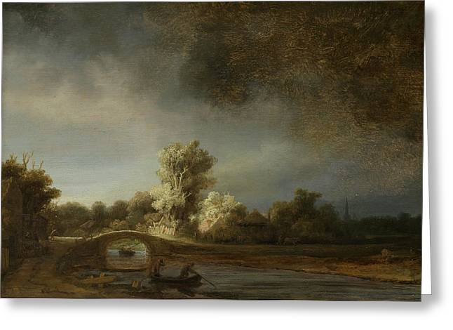 Baroque Greeting Cards - Landscape With A Stone Bridge, C.1638 Oil On Panel Greeting Card by Rembrandt Harmensz. van Rijn