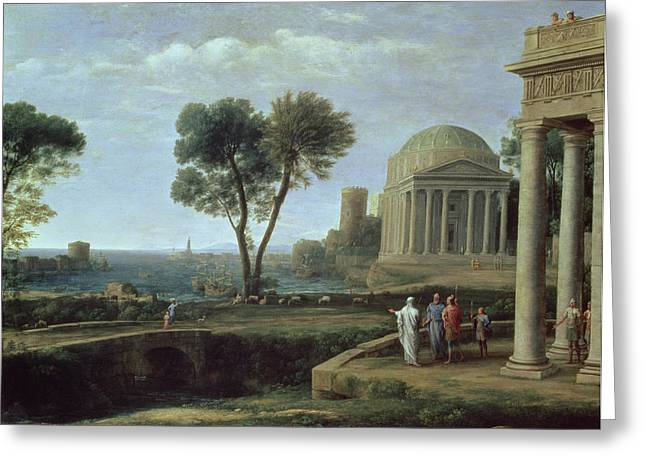 Virgil Greeting Cards - Landscape With Aeneas At Delos, 1672 Oil On Canvas Greeting Card by Claude Lorrain