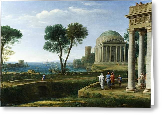 Delos Greeting Cards - Landscape with Aeneas at Delos Greeting Card by Claude Lorrain