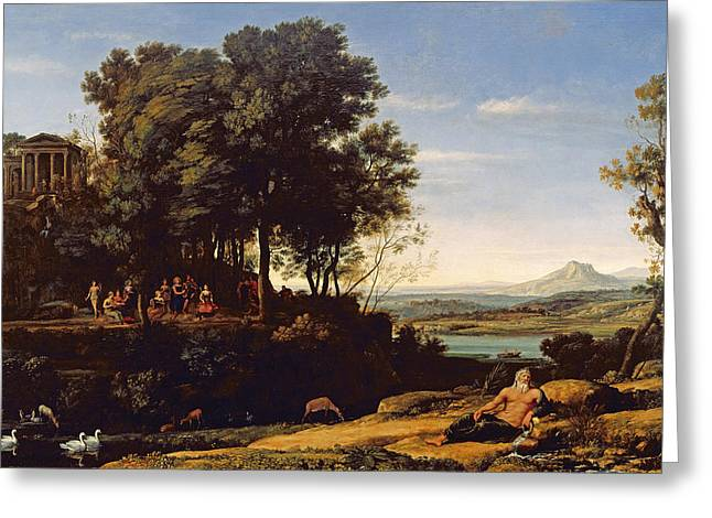 Arcadia Greeting Cards - Landscape With Apollo And The Muses, 1652 Oil On Canvas Greeting Card by Claude Lorrain