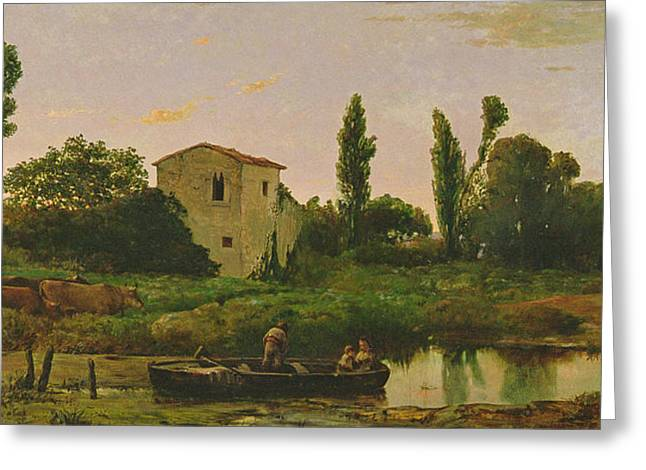 Dusk By The Lake Greeting Cards - Landscape with Boat Greeting Card by Modesto Urgell y Inglada