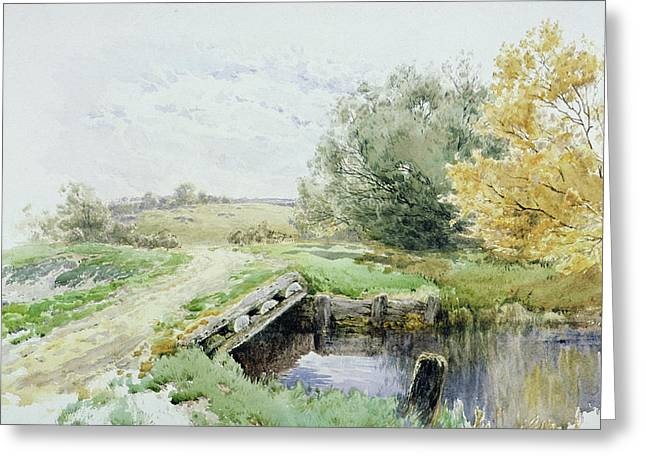 Clayton Greeting Cards - Landscape with bridge over a stream Greeting Card by John Clayton Adams