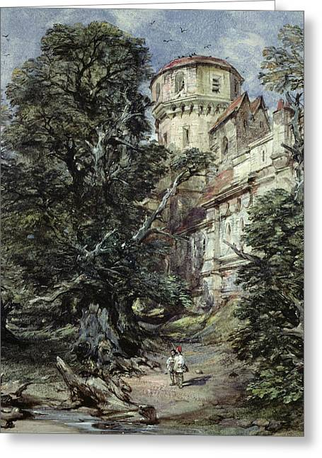 Water Flowing Paintings Greeting Cards - Landscape with Castle and Trees Greeting Card by George Cattermole