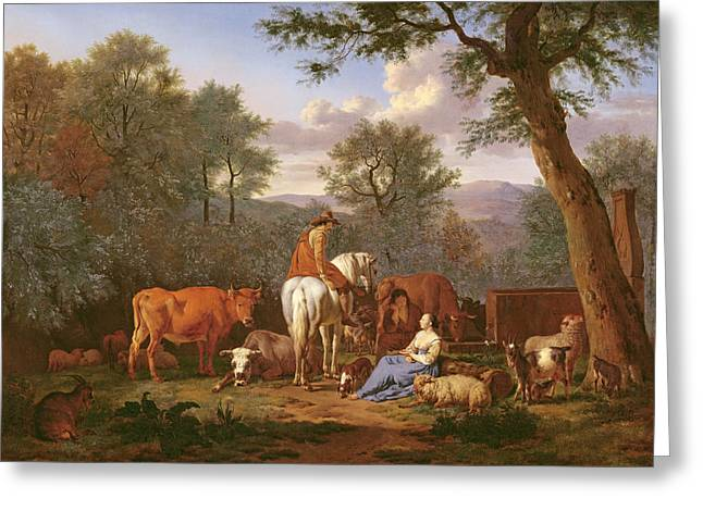 Conversing Paintings Greeting Cards - Landscape With Cattle And Figures Greeting Card by Adriaen van de Velde