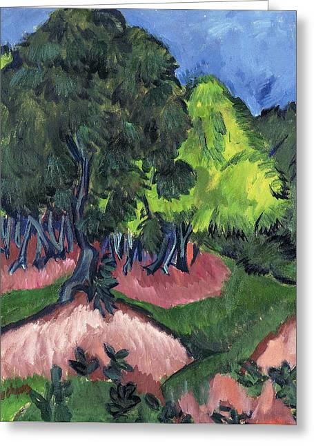 Expressionist Greeting Cards - Landscape with Chestnut Tree Greeting Card by Ernst Ludwig Kirchner