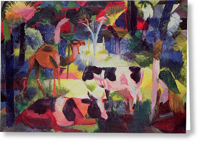 Crt Greeting Cards - Landscape With Cows And A Camel Oil On Canvas Greeting Card by August Macke