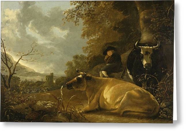 Dutch Shepherd Greeting Cards - Landscape with Cows and a Shepherd Boy Greeting Card by Aelbert Cuyp