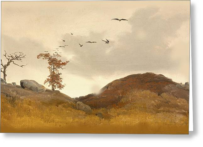 Autumn Scenes Digital Art Greeting Cards - Landscape With Crows Greeting Card by Karl Friedrich Lessing