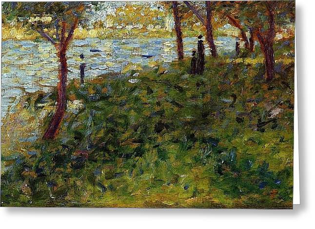 La Grande Jatte Greeting Cards - Landscape with Figures Greeting Card by Georges Seurat