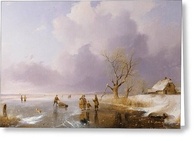 Winter Fun Paintings Greeting Cards - Landscape with frozen canal Greeting Card by Remigius van Haanen