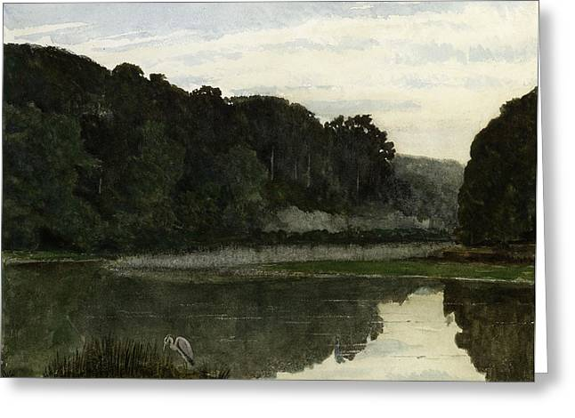 Bird On Tree Greeting Cards - Landscape with Heron Greeting Card by William Frederick Yeames