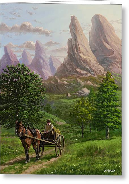 Horse And Cart Greeting Cards - Landscape with man driving horse and cart Greeting Card by Martin Davey