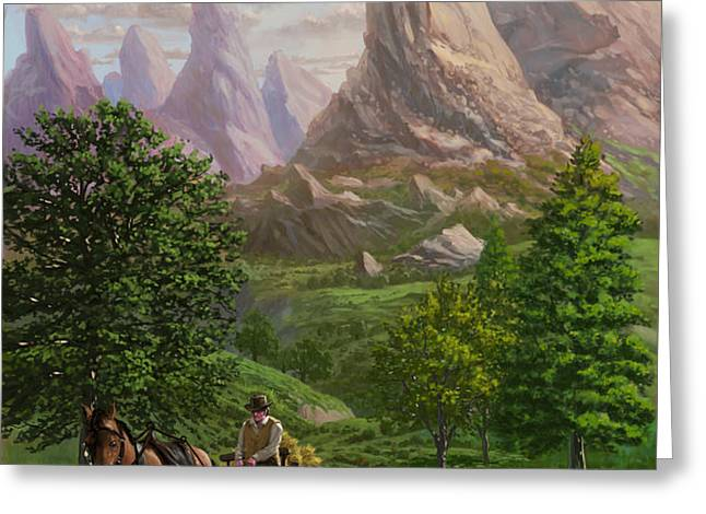 Landscape with man driving horse and cart Greeting Card by Martin Davey