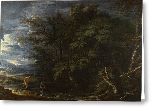 Landscape With Mercury And The Dishonest Woodman Greeting Card by Salvator Rosa