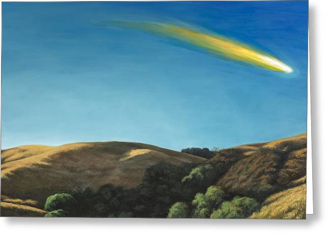 Meteors Greeting Cards - Landscape with Meteor #1 Greeting Card by David Palmer
