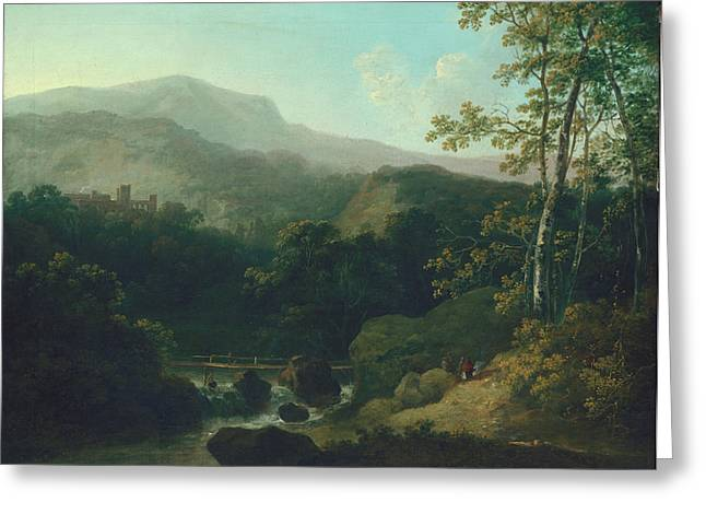 Rural Greeting Cards - Landscape With Mountain Brook Greeting Card by Julius Caesar Ibbetson