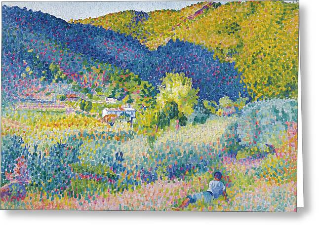 Landscape With Mountains Greeting Cards - Landscape with Mountain Range Greeting Card by Henri-Edmond Cross