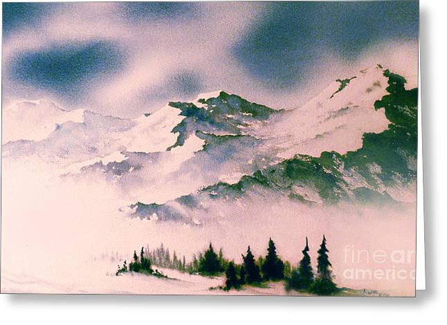 Snow-covered Landscape Greeting Cards - Landscape with Mountains Greeting Card by Teresa Ascone