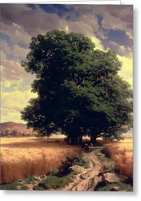 Alexandre Greeting Cards - Landscape with Oaks Greeting Card by Alexandre Calame