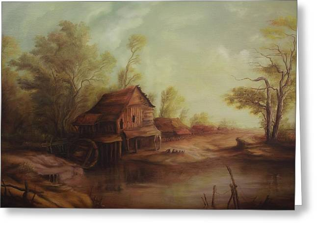 Pictura Greeting Cards - Landscape with old romanian watermill Greeting Card by Dan Scurtu