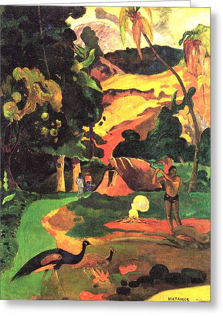 Old Masters Greeting Cards - Landscape With Peacocks Greeting Card by Eugene Henri Paul Gauguin