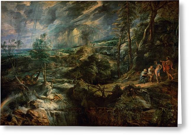 Metamorphoses Greeting Cards - Landscape With Philemon And Baucis C.1625 Oil On Panel Greeting Card by Peter Paul Rubens