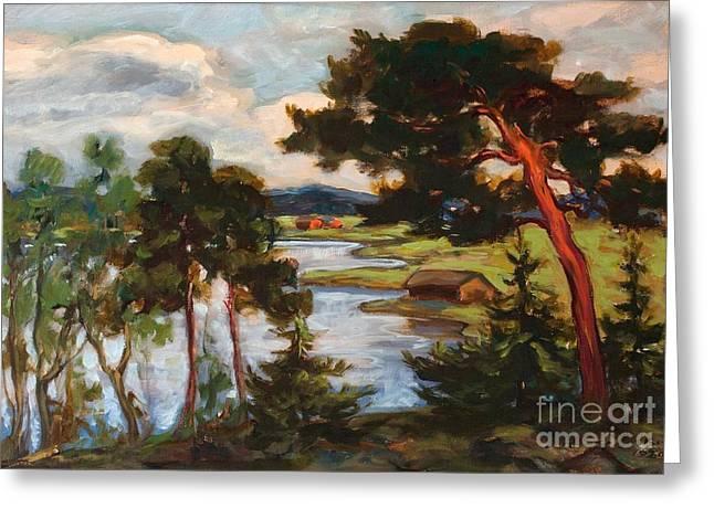 Oslo Paintings Greeting Cards - Landscape With Pine Trees Greeting Card by Jalmari Ruokokoski