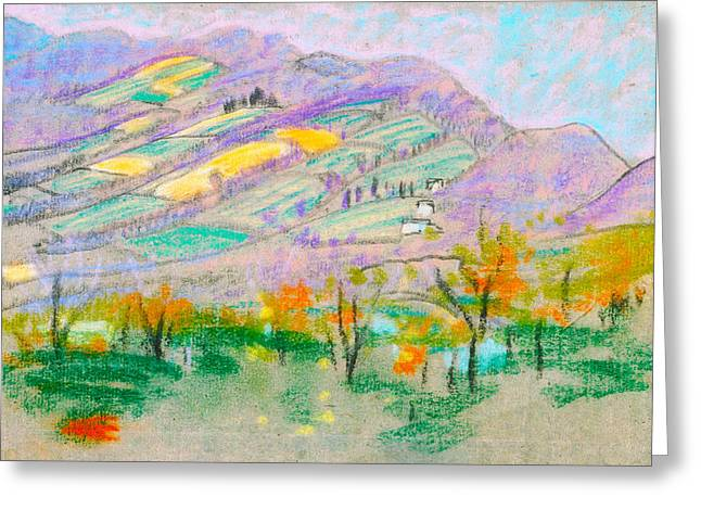 Landscape With Mountains Greeting Cards - Landscape With Purple Mountains Greeting Card by Arthur B Davies