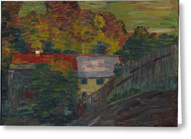 Strength Paintings Greeting Cards - Landscape with red roof Wasserburg Greeting Card by Celestial Images