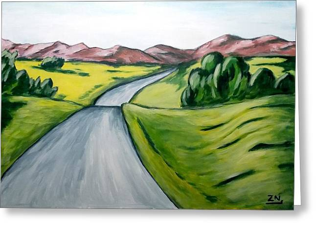 Zeke Nord Greeting Cards - Landscape with road Greeting Card by Zeke Nord