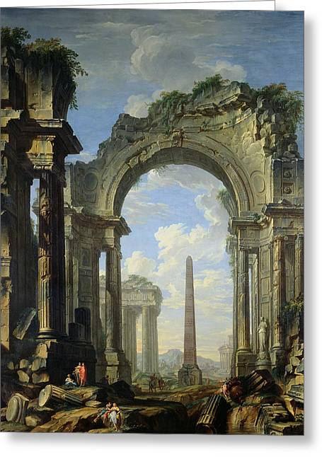 Obelisk Greeting Cards - Landscape with Ruins Greeting Card by Giovanni Niccolo Servandoni