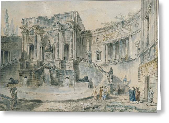 Baroque Greeting Cards - Landscape With Ruins Watercolour Greeting Card by Hubert Robert