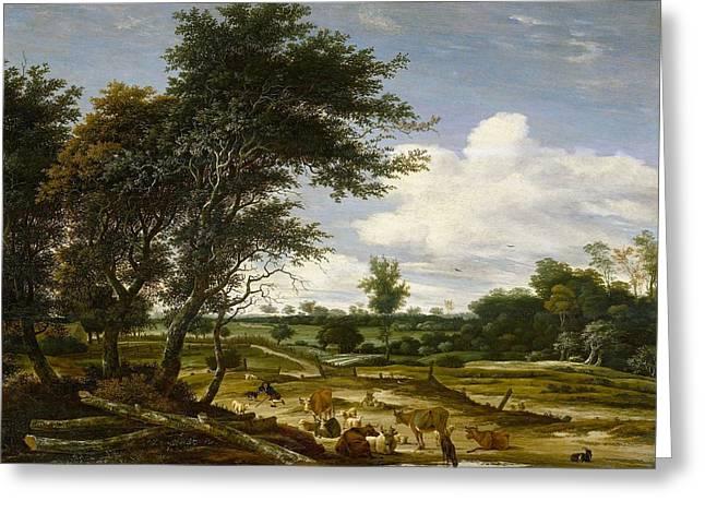 Dutch Shepherd Greeting Cards - Landscape with shepherd and cattle Greeting Card by Salomon van Ruysdael